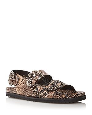 Women's Piper Buckle Croc-Embossed Slingback Sandals