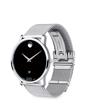 MOVADO MUSEUM CLASSIC AUTOMATIC STAINLESS STEEL MESH BRACELET WATCH, 40MM