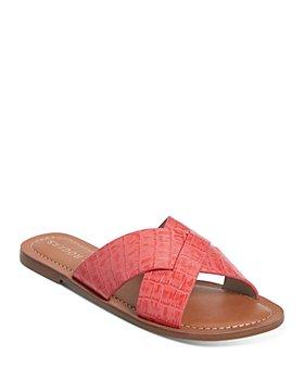 Jack Rogers - Women's Sloane Slotted Crossover Embossed Leather Slide Sandals