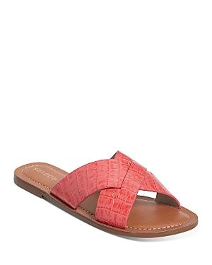 Women's Sloane Slotted Crossover Embossed Leather Slide Sandals