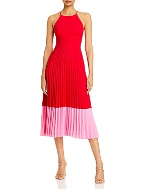 Pleated Halter Midi Dress