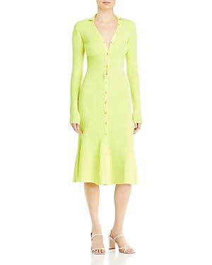 Ribbed Midi Flounce Dress