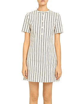 Theory - Striped Trapeze Mini Dress