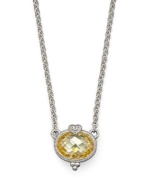 Judith Ripka Oval Stone and Heart Pendant, 17
