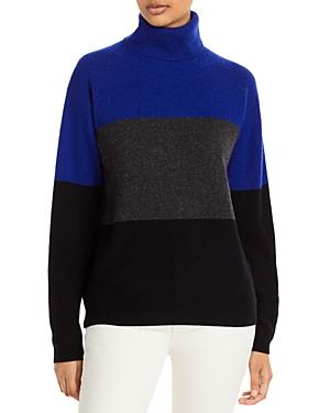Color Blocked Cashmere Turtleneck Sweater