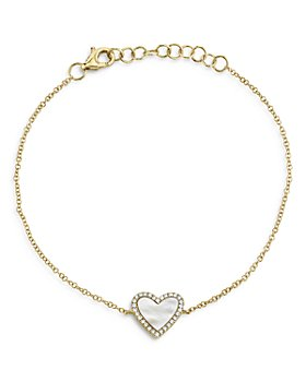 Moon & Meadow - 14K Yellow Gold Stone Heart & Diamond Bracelet Collection