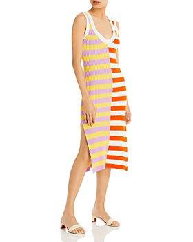 STAUD - Seashore Stripe Blocked Knit Dress