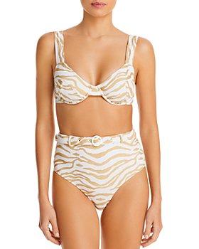 Solid & Striped - Jozy Animal Print Bikini Top & Belted High Waist Bottoms