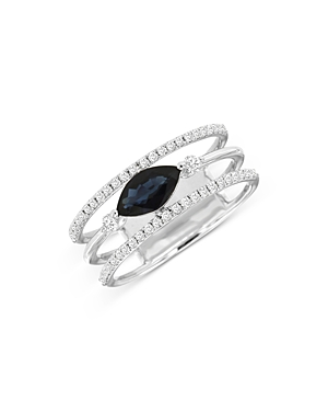 Bloomingdale's Sapphire & Diamond Micro-Pave Ring in 14K White Gold - 100% Exclusive