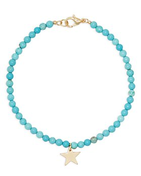 AQUA - Star Charm Turquoise Beaded Ankle Bracelet in Gold Tone - 100% Exclusive