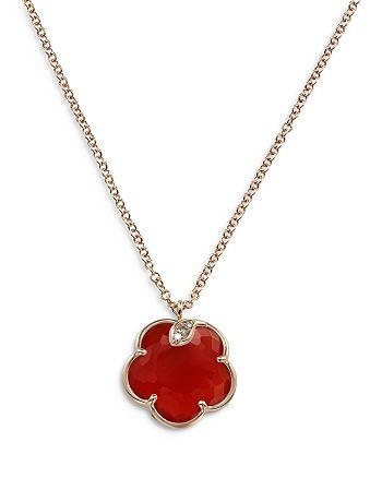 """Pasquale Bruni - 18K Rose Gold Petit Joli Necklace with Carnelian & Diamonds, 16.7"""""""