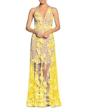 Sidney Illusion Skirt Floral Applique Lace Gown