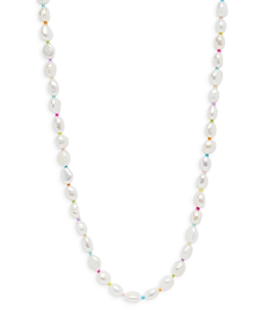 Aqua Simulated Pearl & Bead Necklace, 14 - 100% Exclusive