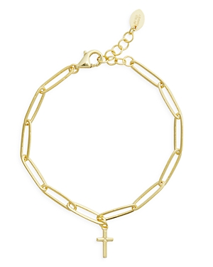 Cross Pendant Gold Plated Sterling Silver Paperclip Bracelet