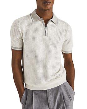 REISS - Scotty Half Zip Airtex® Regular Fit Polo Shirt