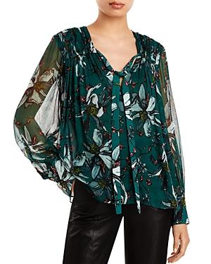 Floral Print Tie Neck Silk Blouse