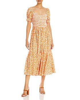 AQUA - Puff Sleeve Smocked Maxi Dress - 100% Exclusive