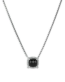 """David Yurman - Sterling Silver Chatelaine Pendant Necklace with Black Onyx & Diamonds, 18"""" - 100% Exclusive"""