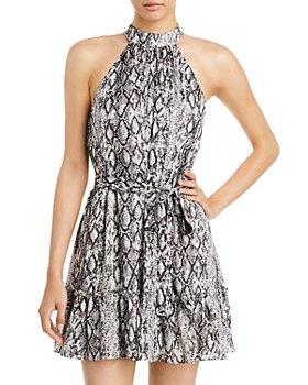 AQUA - Halter Neck Tie Waist Printed Dress - 100% Exclusive