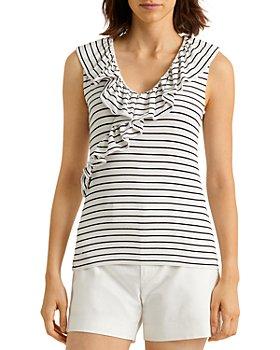 Ralph Lauren - Ruffled Striped Sleeveless Top