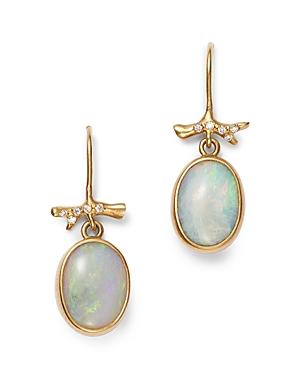 18K Yellow Gold Opal & Diamond Drop Earrings