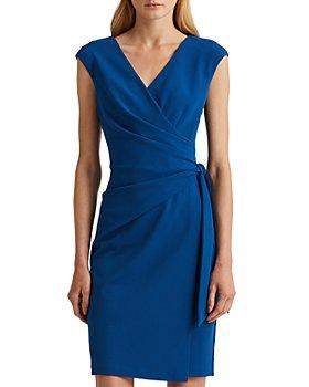 Ralph Lauren - Side Sash Crossover V Neck Cocktail Dress