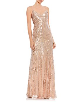 Mac Duggal - Sequin Crossover Front Spaghetti Strap Gown