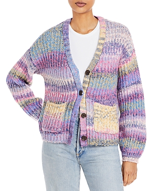 Button Front Striped Cardigan