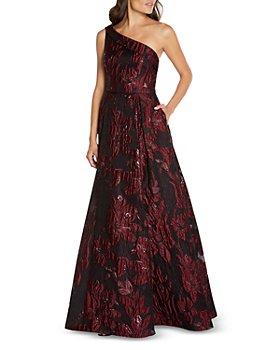 Aidan Mattox - Floral Jacquard One Shoulder Gown