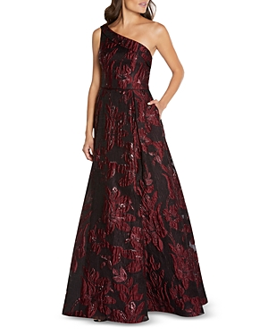 Floral Jacquard One Shoulder Gown
