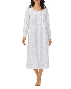 Printed Long Sleeve Cotton Nightgown