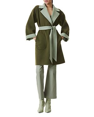 Alice + Olivia Tomiko Reversible Belted Wool Blend Coat