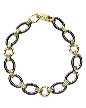 LAGOS - 18K Gold & Black Caviar Black Ceramic Oval Link Bracelet