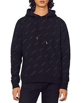 Sandro - Organic Cotton Brushed Fleece Diagonal Logo Print Hoodie
