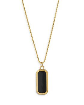 """Degs & Sal - Black Onyx Pendant Necklace in 14K Gold Plated Sterling Silver, 24"""""""