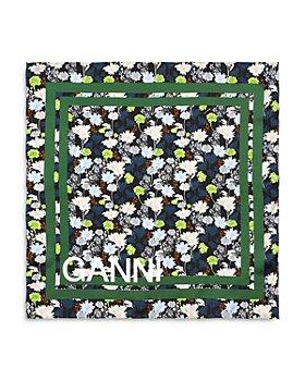 GANNI - Floral Logo Silk Twill Scarf