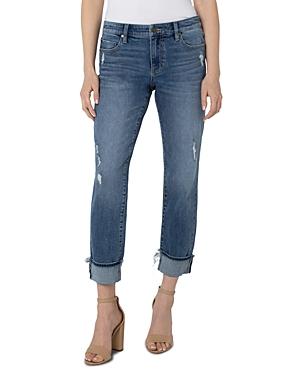 Marley Distressed Cuffed Girlfriend Jeans in Amston