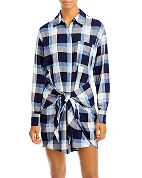 AQUA - Tie Waist Shirt Dress - 100% Exclusive