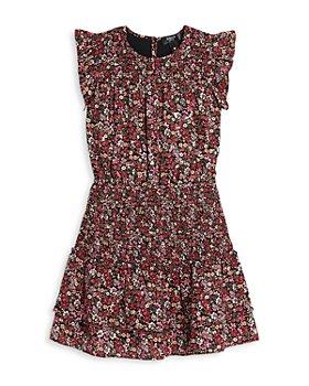 AQUA - Girls' Flutter Sleeve Smocked Metallic Floral Dress, Big Kid