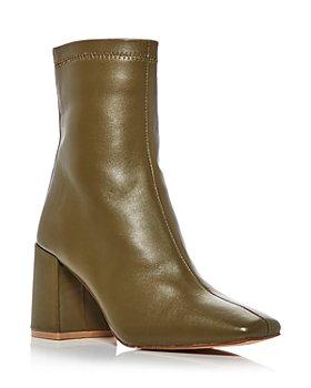 AQUA - Women's Juno Leather Square Toe Booties - 100% Exclusive