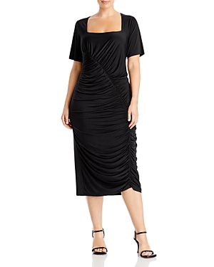 Wayf Plus Rigby Ruched Midi Dress