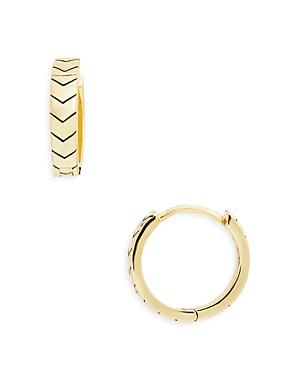 Chevron Huggie Hoop Earrings in 14K Gold Plated Sterling Silver