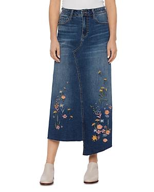 Embroidered Denim Asymmetric Skirt