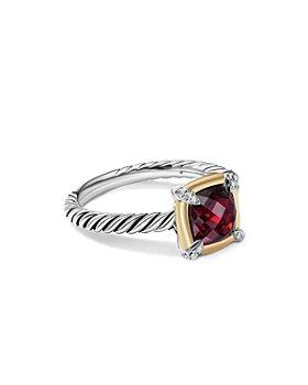 David Yurman - 18K Yellow Gold & Sterling Silver Petite Chatelaine® Garnet & Diamond Bezel Ring