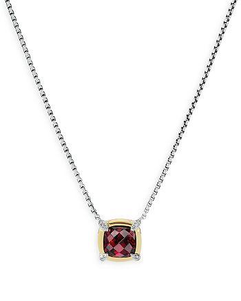 "David Yurman - Sterling Silver Petite Chatelaine® Garnet & Diamond Pendant Necklace with 18K Yellow Gold, 18"""