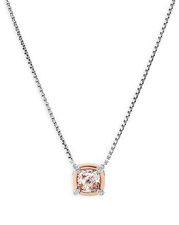 "David Yurman - Sterling Silver Petite Chatelaine® Morganite & Diamond Pendant Necklace with 18K Rose Gold, 18"""