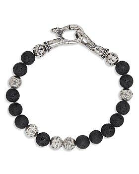 John Varvatos Collection - Men's Sterling Silver Mercer Lava Bead Bracelet