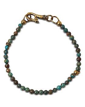John Varvatos Collection - Men's Brass Skull Turquoise Bead Bracelet