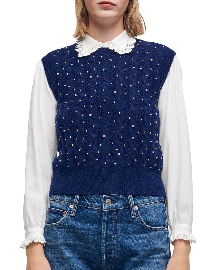 Maje - Maela Beaded Cable Knit Sweater Vest