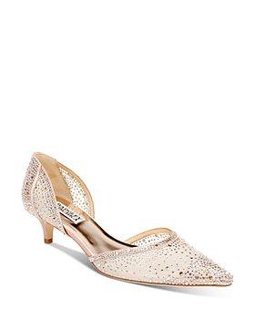 Badgley Mischka - Women's Madelyn Pointed Toe Embellished Kitten Heel d'Orsay Pumps